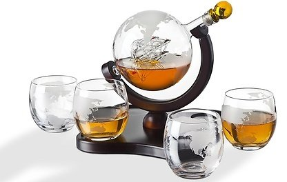 Crystal Globe Whiskey Decanter Set (1-, 3-, and 5-Piece)