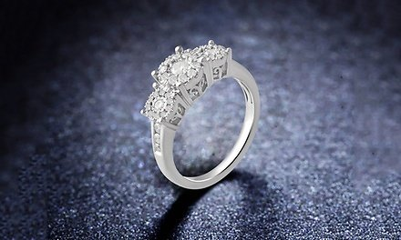 1/2 CTTW Diamond Engagement Ring in Sterling Silver By DiamondMuse