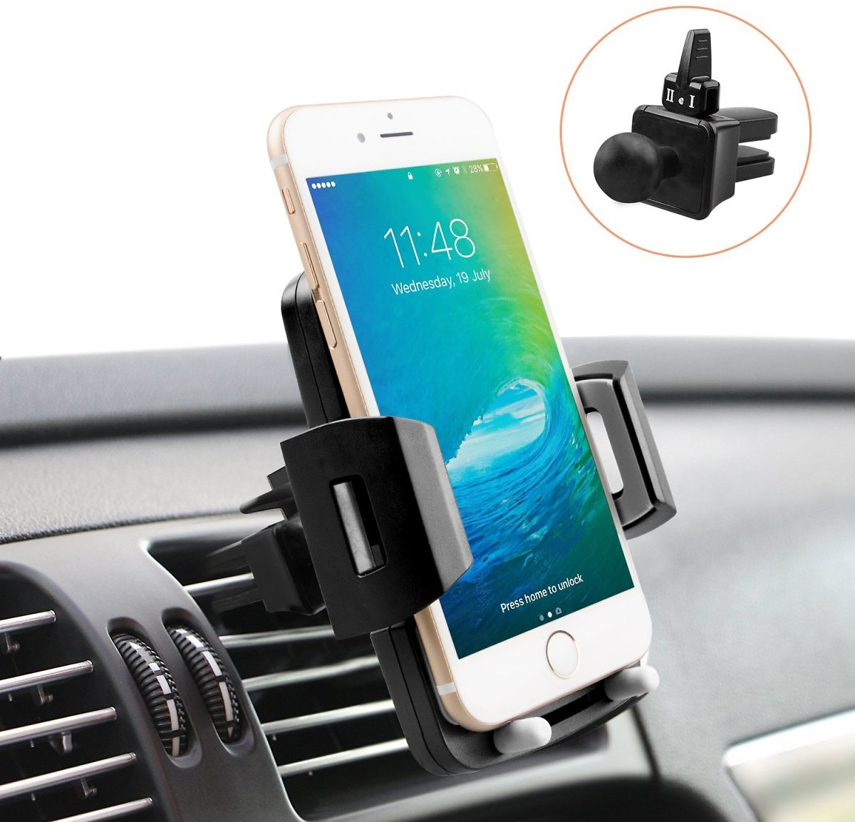 Universal Car Holder - Cell Phone Holder for Car - Quntis Phone Holder Car Mount - Car Air Vent Holder Cradle - 360 Rotation Cell Phone Mount Compatible with Samsung Galaxy LG Motorola Smartphones