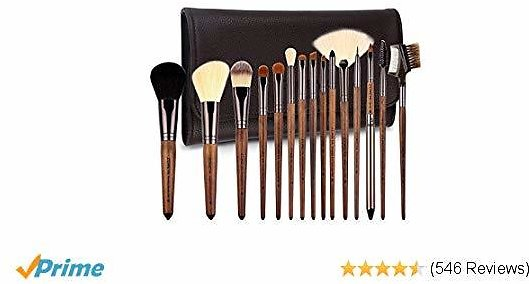 ZOREYA Makeup Brushes Premium Real Walnut 15pc High End Makeup Brush Set For Cosmetic Make Up with Leather Brush Case Holder- Eyeshadow Foundation Fan Brush Brochas De Maquillaje Profesional