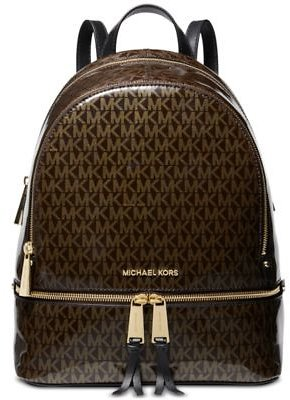 Michael Kors Signature Glossy Rhea Zip Backpack, Created for Macy's Handbags & Accessories