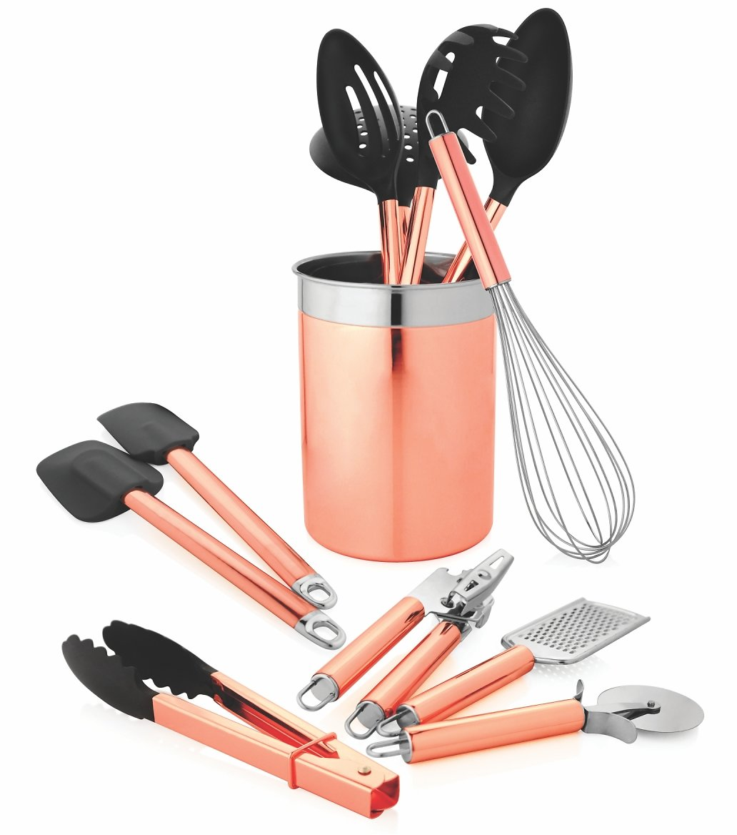 12pc. Kitchen Tool Set with Caddy - Copper
