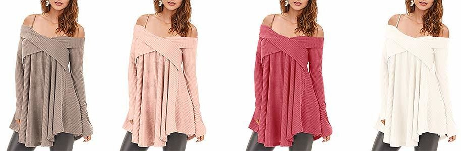 KENANCY Womens Cold Shoulder Crisscross Sweater Long Sleeve Tunic Knit Pullover Top