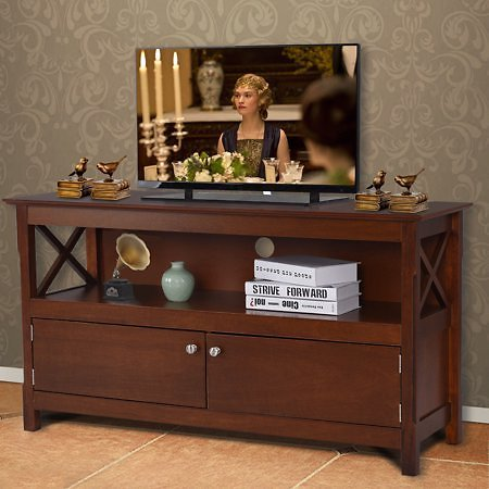 Costway 44'' TV Stand Console Wooden Storage Cabinet Shelf Media Center Television Stand
