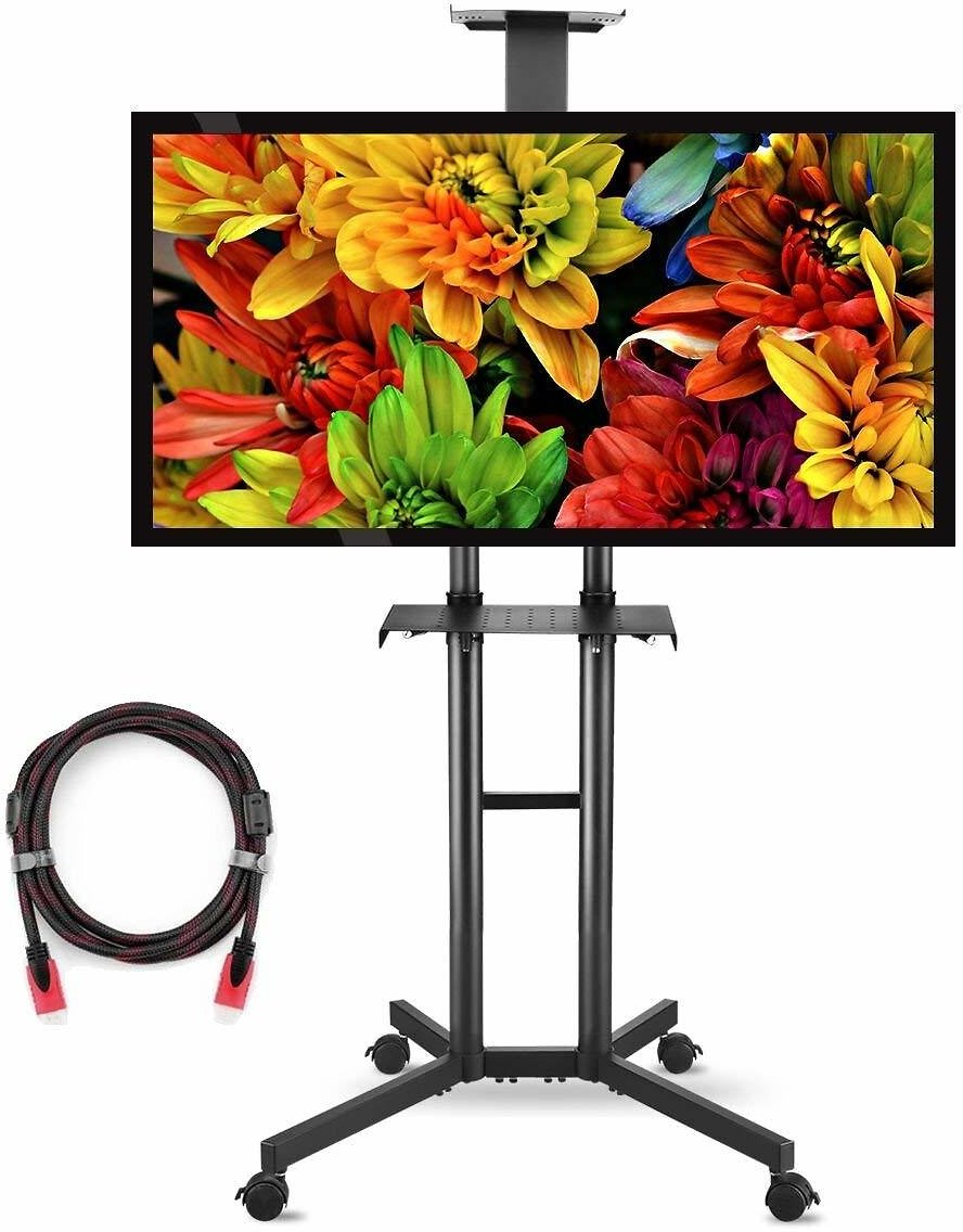 (Ships Free) Suptek Rolling TV Cart Mobile TV Mount Stand with Wheels and Shelves for 32-60 Inch Flat Screen