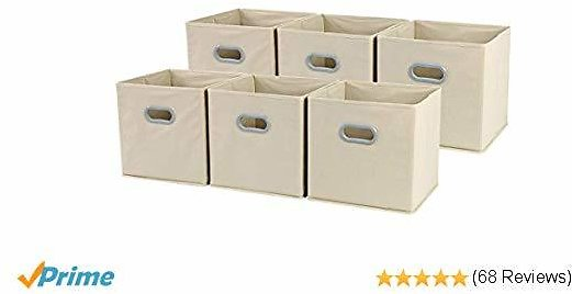 Foldable Cloth Storage Cube Basket Bins Organizer Containers Drawers, 6 Pack, Beige,12