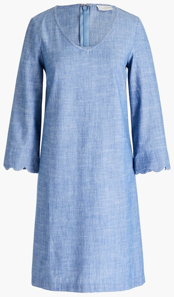 Chambray Dress with Scalloped Sleeve : FactoryWomen Shift Dresses | Factory