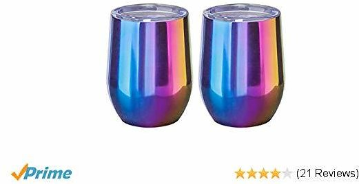 WBRWP Stainless-Steel Stemless Camping Tumbler Cup Mug : 12oz Double Wall Vacuum Insulated Unbreakable Beverage Drinkware with Lid for Wine, Coffee, Drinks, Champagne, Cocktails-2 Pieces Rainbow