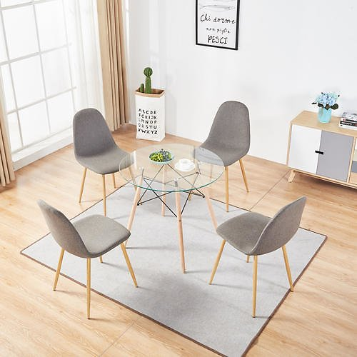 MCombo 5 Piece Dining Table Set 4 Chair Glass Round Table Dining Chairs Coffee Table Set