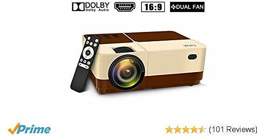 Wsky 2019 Newest LCD LED Outdoor Portable Home Theater Video Projector, Support HD 1080P Best for Outdoor Movie Night, Family, Compatible with Phone, PS4, Xbox, HDMI, USB, SD(Brown)