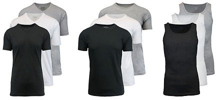 Galaxy By Harvic Men's T-Shirt or A-Tank Undershirts (3 or 6-Pack). Extended Sizes Available