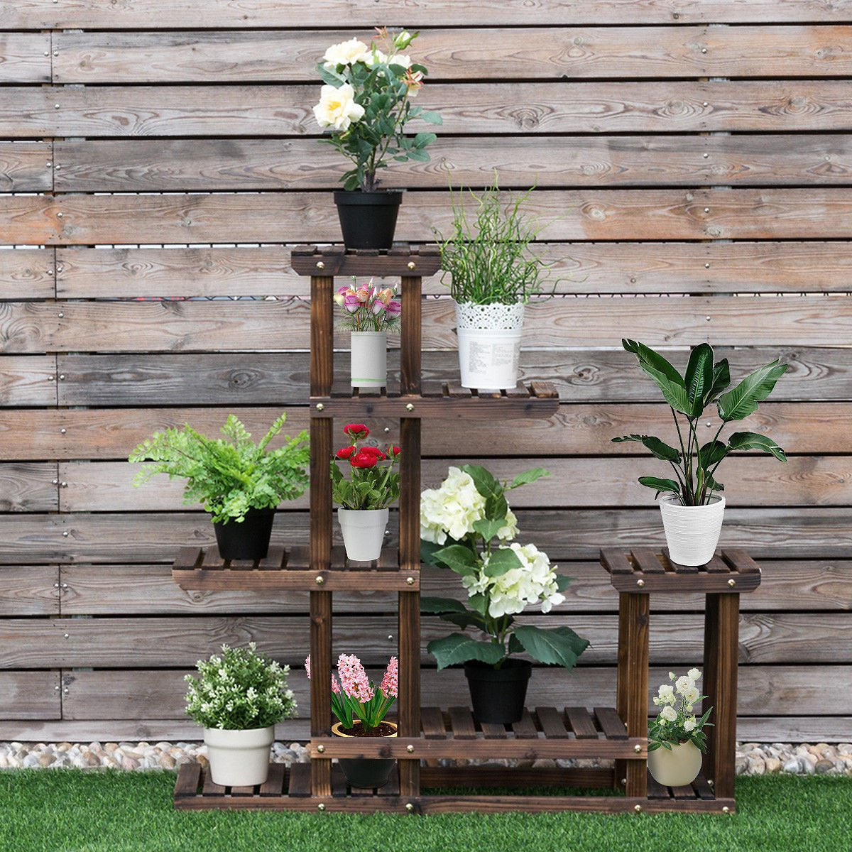 Outdoor Wooden Flower Plant Stand 6 Shelve