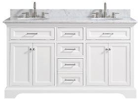 Bath Vanity in White with Carrera Marble Vanity Top in White with White Sink-15101-VS61C-WT