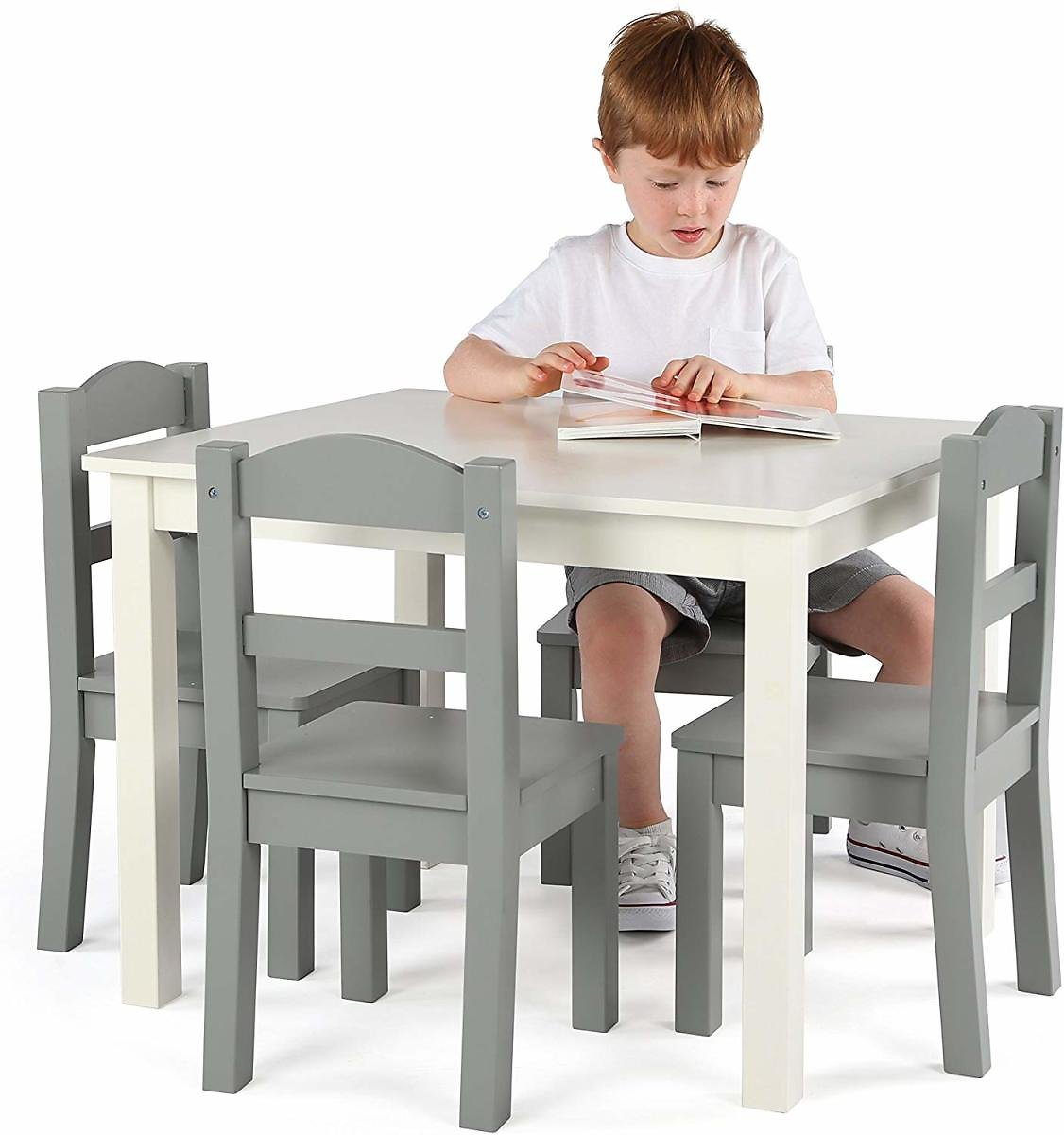 Tot Tutors TC534 Springfield Collection Kids Wood Table & 4 Chair Set, White/Grey