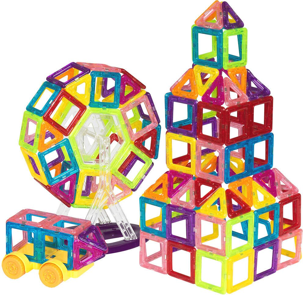 (Ships Free) BCP 158-Piece Kids Clear Magnetic Building Block Tiles Toy Set - Multicolor