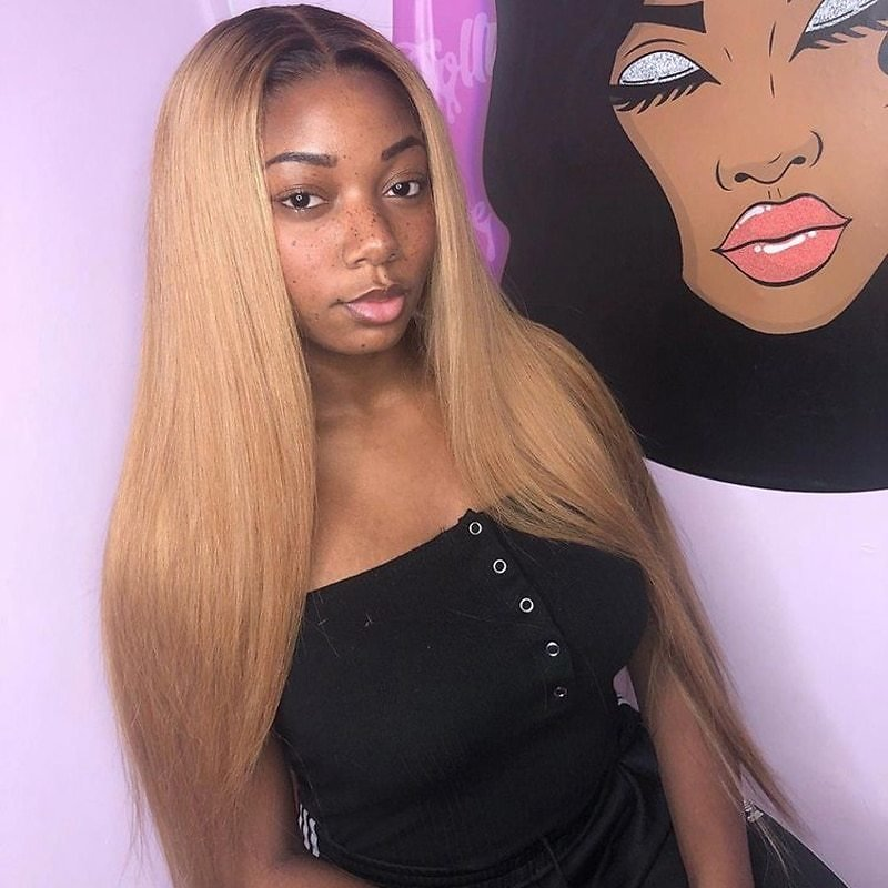 Blonde Ombre Color Remy Brazilian Straight Wig Long Pre Plucked Glueless Lace Front Human Hair Wigs for Black Women