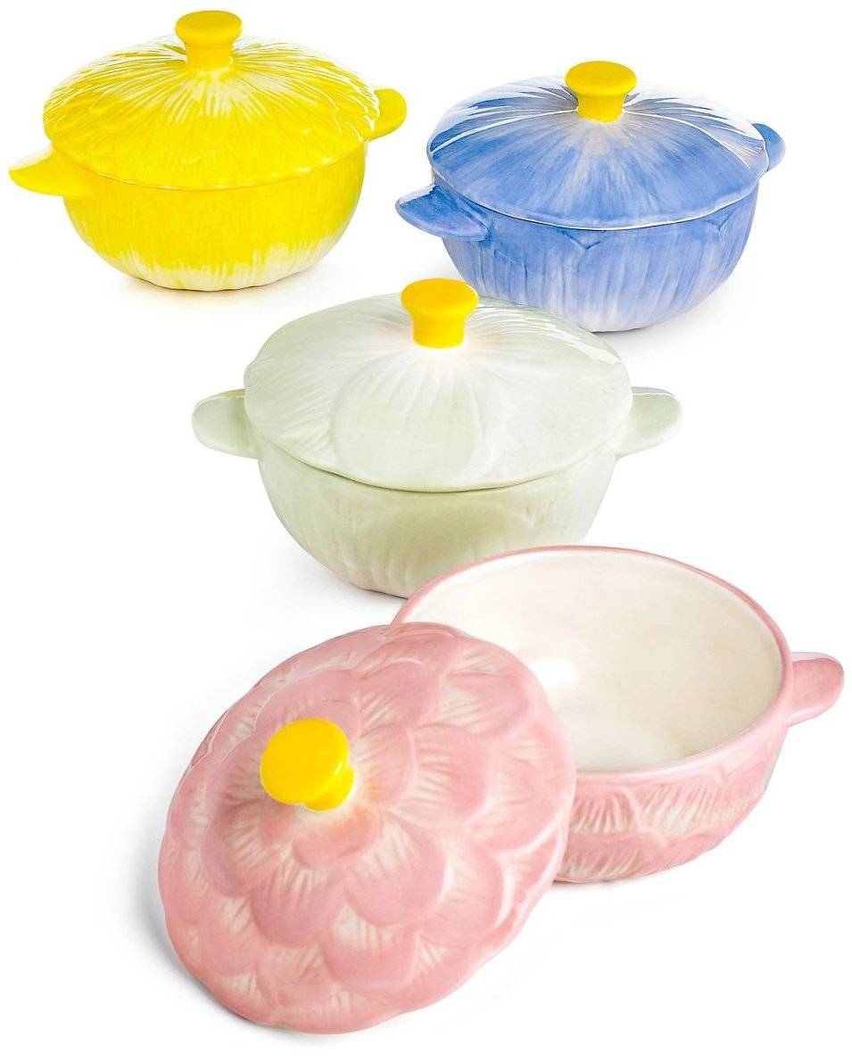Martha Stewart Collection Set of 4 Floral Cocottes