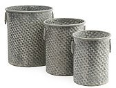 Set Of 3 Basketweave Galvanized Bucket - Decorative Accents - T.J.Maxx