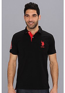 U.S. POLO ASSN. Slim Fit Big Horse Polo w/ Stripe Collar