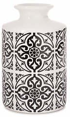 Tiles Black & White Ceramic Cylinder Vase