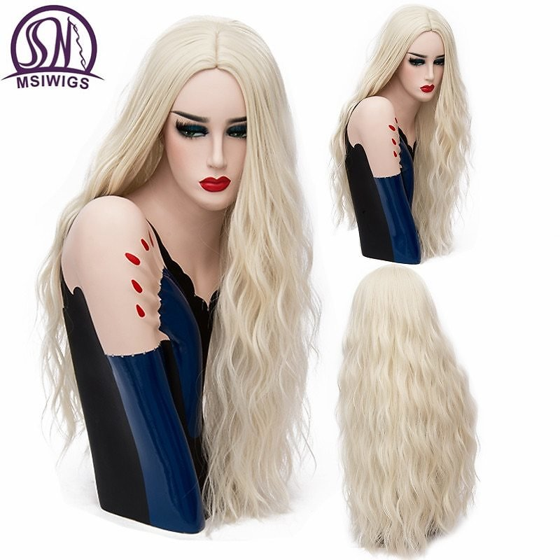 70CM Long Pink Wavy Wigs Cosplay Natural Synthetic Women' S Blonde Wig 29 Colors Full Heat Resistant Hair