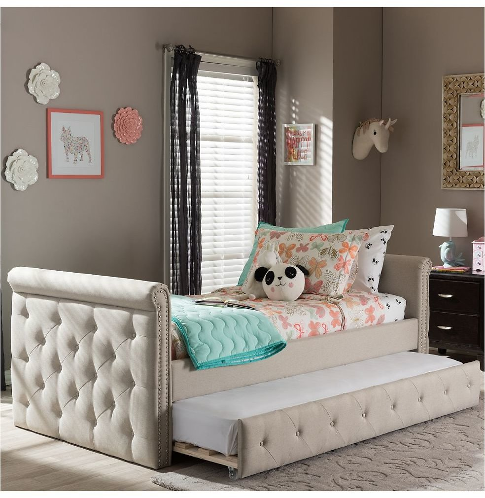 Swamson Twin Daybed with Roll-Out Trundle Guest Bed (2 Colors)