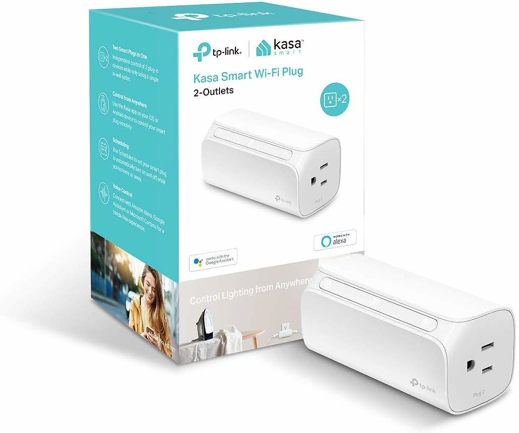 TP-LINK Kasa 2-Outlet Smart Wi-Fi Plug, No Hub Required, Works with Alexa and Google (HS107), White