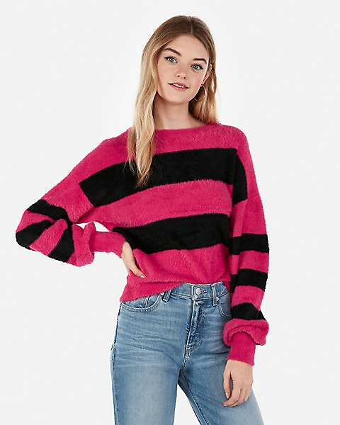 Striped Fuzzy Balloon Sleeve Pullover Sweater