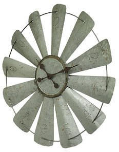 Zeckos Galvanized Grey 26 Inch Rustic Metal Windmill Wall Clock