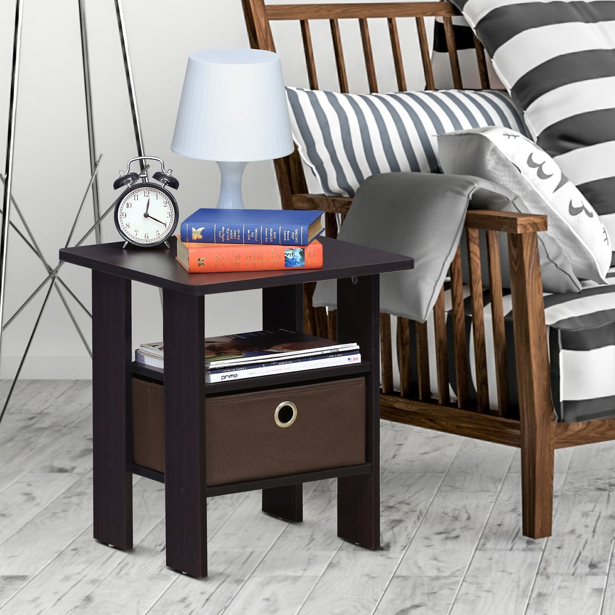 Furinno Andrey End Table Night Stand w/ Bin Drawer