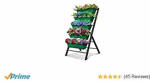 4-Ft Raised Garden Bed - Vertical Garden Freestanding Elevated Planters 5 Container Boxes - Good for Patio Balcony Indoor Outdoor - Cascading Water Drainage to Grow Vegetables Herbs Flowers (1-Pack)