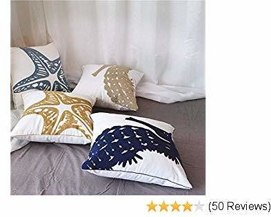 MOCOFO Decorative Throw Pillow Covers Set of 4 Embroidered Cushion Covers 18 X 18 Inch Starfish and Hippocampus
