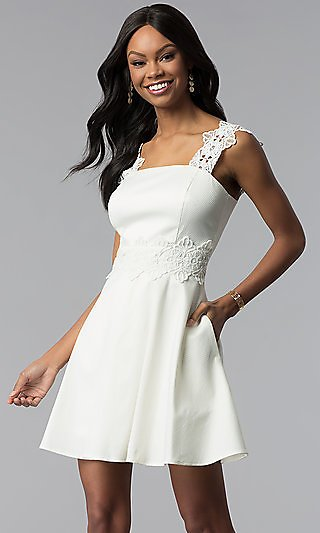 Short A-Line Ivory White Grad Dress with Pockets