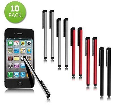 10-Pack: Touchscreen Metal Stylus - Assorted Colors
