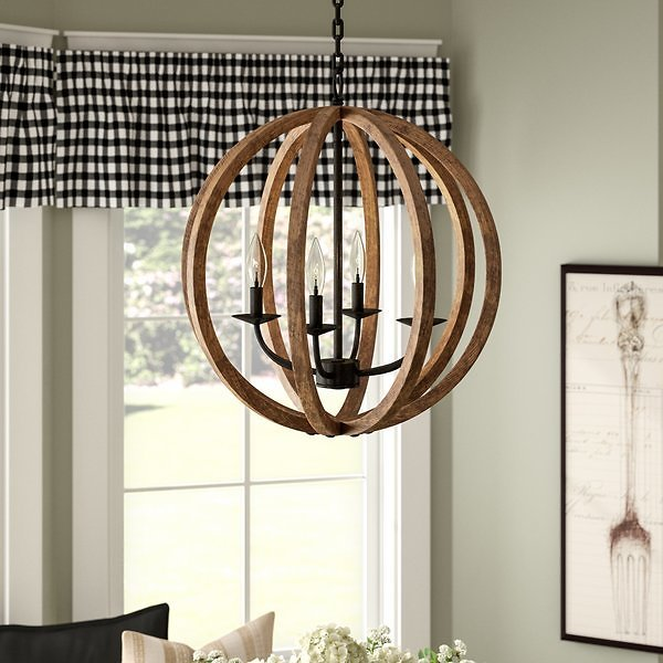 Ricciardo 4-Light Real Wood Globe Chandelier - 60% Off 1 Day Only