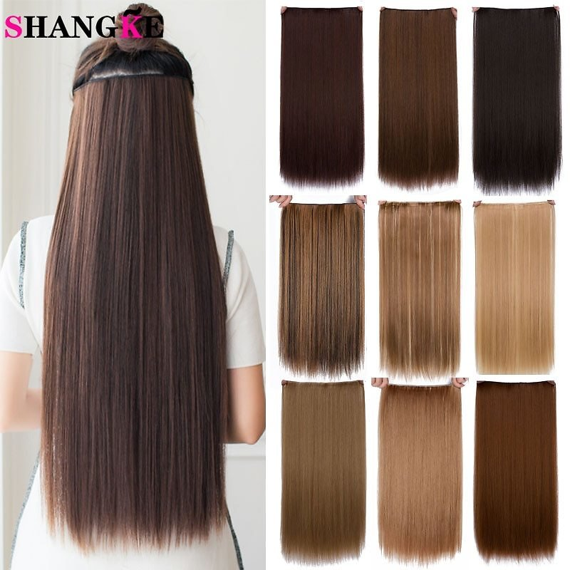 Hair 24'' Long Straight Women Clip in Hair Extensions Black Brown High Tempreture Synthetic Hair Piece