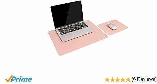 2 Set of Pads, 1 Computer Desk Pad, Plus 1 Mouse Pad, Waterproof PU Leather Pads, Dual Use Desk Writing Pads for Office/Home (Pink)