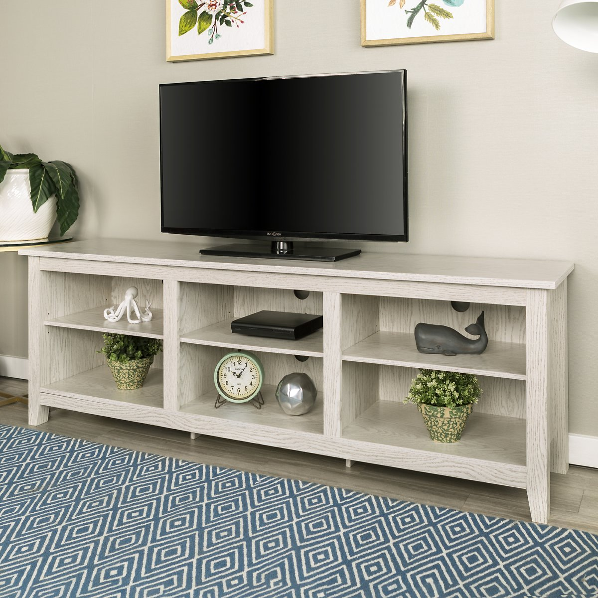 (Ships Free) Walker Edison Wood TV Media Storage Stand for TVs 78-in