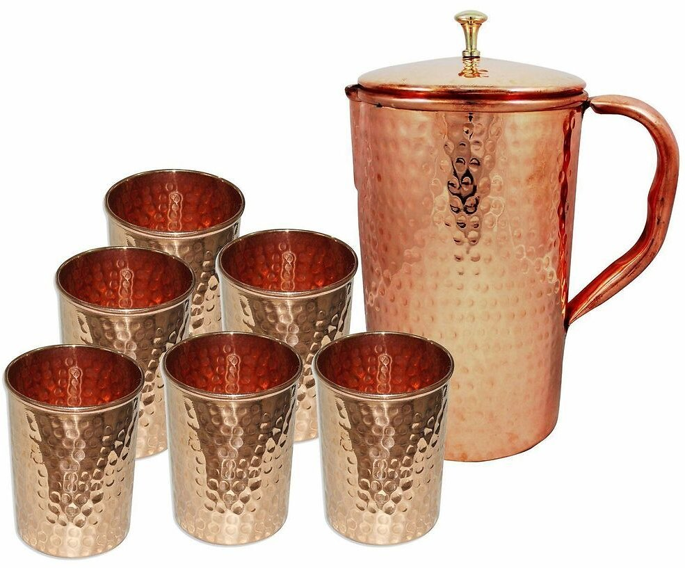 Indian 100% Copper Water Hammered Jug 6 Tumbler SET of 7 PCs Benefit Health Gift