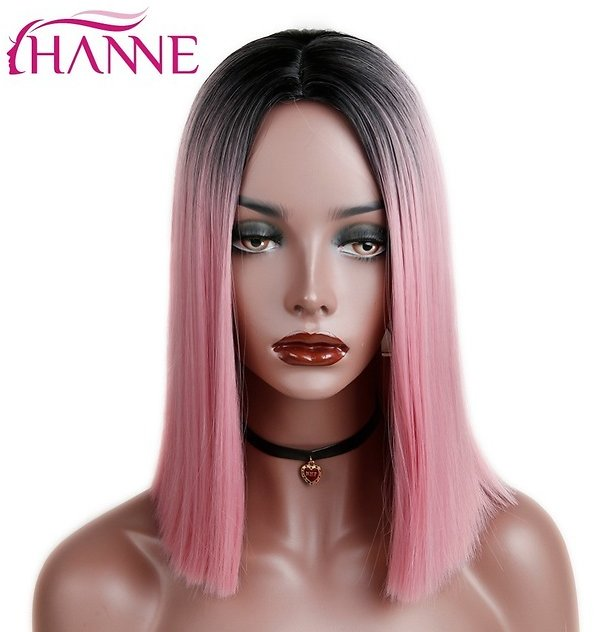 Ombre Pink/Blonde/Grey Short Straight Heat Resistant Synthetic Hair Wig For Black/White Women Cosplay Or Party Bob Wigs
