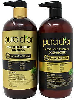 (Ships Free) PURA D'OR Advanced Therapy System Shampoo & Conditioner Bundle