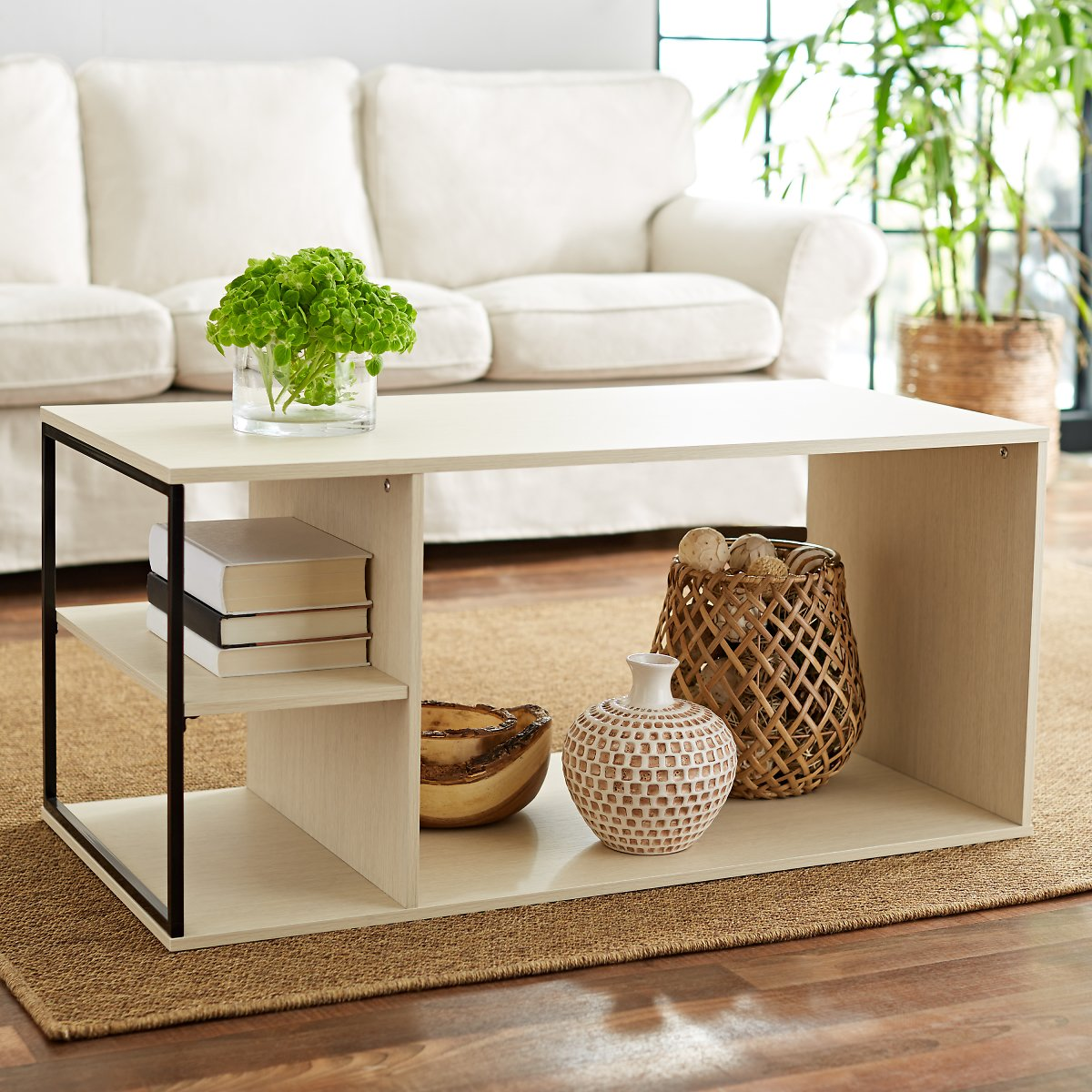 Mainstays Kalla Wood and Metal Coffee Table (MS Birch)