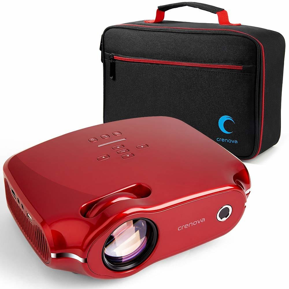 Crenova XPE498 Upgraded Projector 2019 (Tesla Red) - 3200 Lumens - Home Portable Projector - Compatible with PC/Mac/TV/DVD/iPhone/iPad/USB/SD/AV/HDMI for Home Theater/Outdoor/Video Games