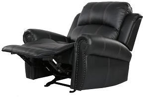 Noble House Gavin Black PU Leather Gliding Recliner