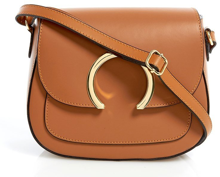 Made In Italy Leather Ring Accent Saddlebag Crossbody