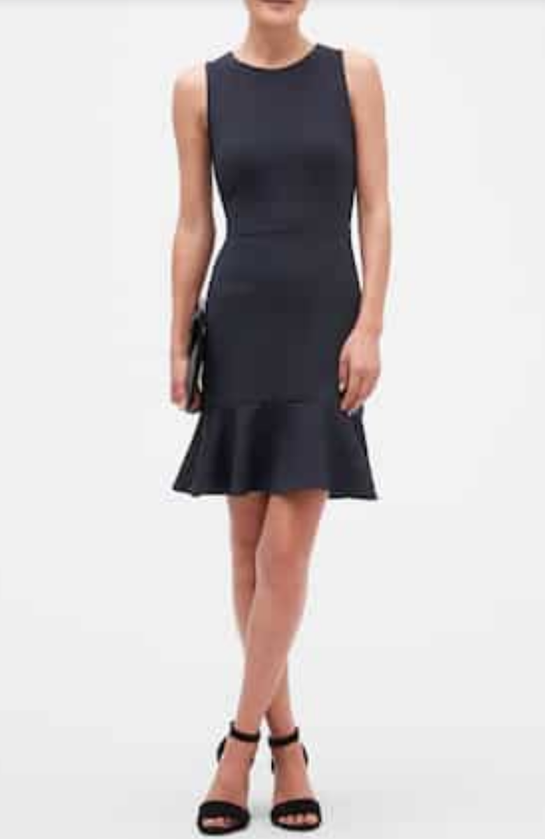 Textured Navy Flounce Hem Sheath Dress | Banana Republic Factory