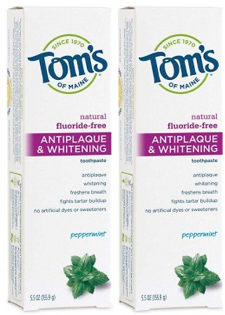 2 Toms of Maine Fluoride-Free Antiplaque & Whitening Natural Toothpaste