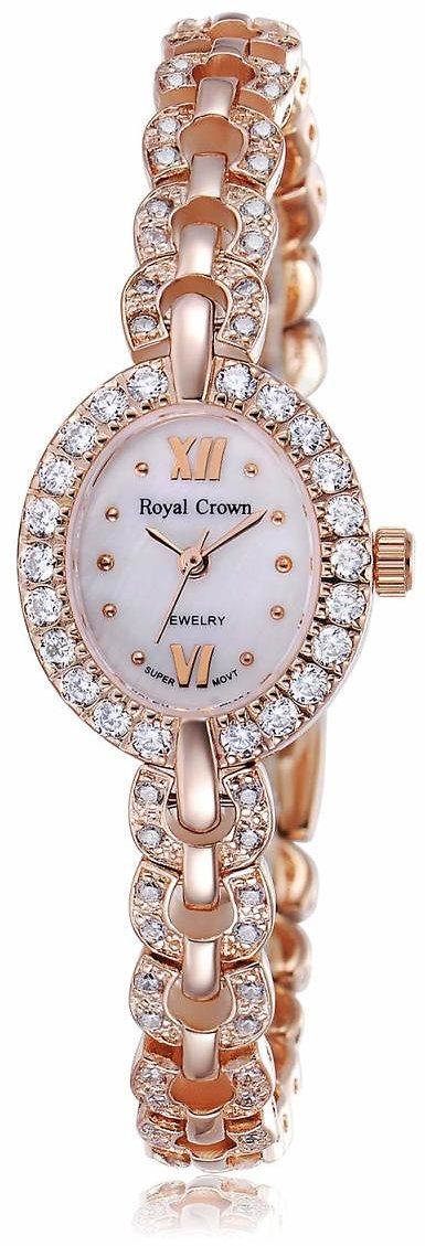 Royal Crown Women's Crystal-Accented Luxury Silvery-Tone Bangle Watch Jewelry Series Women Fashion Wrist Quartz Rose Gold Wrist Watch with
