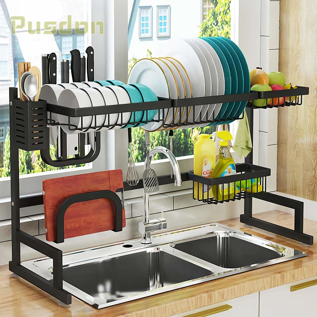 Dish Drying Rack Over Sink, Drainer Shelf for Kitchen Supplies Storage Counter Organizer Utensils Holder Stainless Steel Display- Kitchen Space Save Must Have