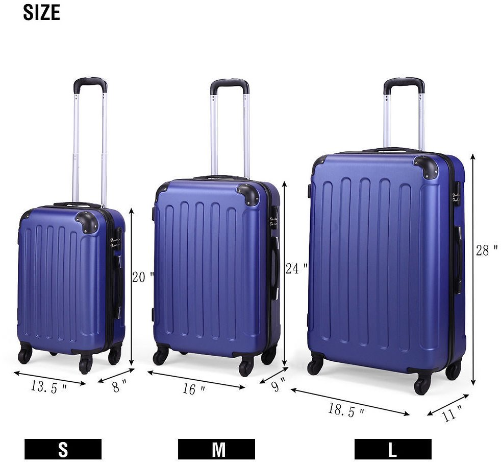 BHC 3PCS Luggage Bag Carry On Set Trolley Suitcase Travel Spinner ABS+PC W/Cover 657228281683